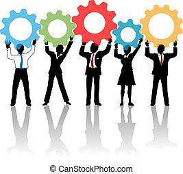 ludzie, do góry, mechanizmy, drużyna, rozłączenie, technologia