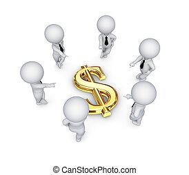 ludzie, dolar, dookoła, poznaczcie., 3d, mały