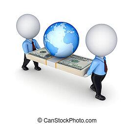 ludzie, dolar, mały, 3d, earth., opakujcie