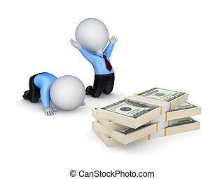 ludzie, dolar, packs., 3d, mały