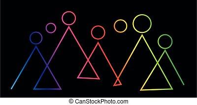 ludzie, duma, 2021, kreska, infographic, włączanie, website, tło, wektor, odizolowany, logo, sztuka, tęcza, pojęcie, barwny, rozmaitość, wesoły, komplet, czarnoskóry, chorągiew