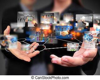 ludzie, dzierżawa, media, towarzyski, handlowy