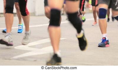 ludzie, feet, prąd, maraton, wyścigi