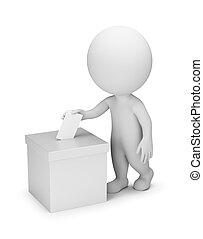 ludzie, głosowanie, -, 3d, mały