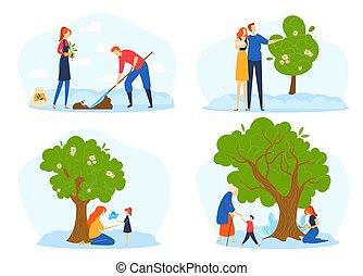 ludzie, gradacja, młody, cykl życia, wzrost, gandparents, metafora, drzewo., wielki, para, nasienie, rozwój, rosnąć, rodzina, roślina, drzewo