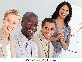 ludzie, grupa, handlowy, młody
