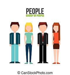 ludzie, grupa, projektować