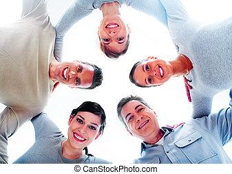 ludzie., grupa, szczęśliwy