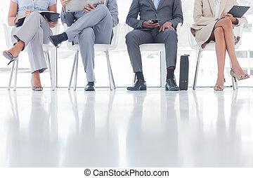 ludzie, grupa, usługiwanie, handlowy