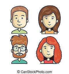 ludzie, grupa, współposiadanie, ikona