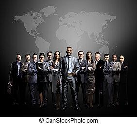 ludzie handlowe, drużyna, świat ma