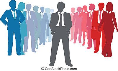 ludzie handlowe, lider, drużyna, towarzystwo