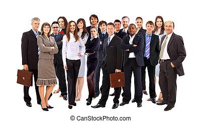 ludzie handlowe, młody, -, drużyna, pociągający, elita