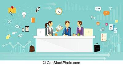 ludzie handlowe, posiedzenie, biuro, grupa, biurko, płaski
