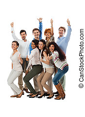 ludzie handlowe, szczęśliwy, razem, drużyna, grupa