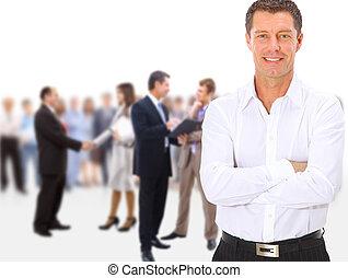 ludzie handlowe, tłum, stać, tło, długość, odizolowany, pełny, drużyna, grupa, biały