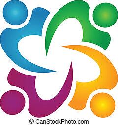 ludzie handlowe, teamwork, logo, grupa