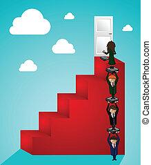 ludzie handlowe, teamwork, powodzenie, kroki