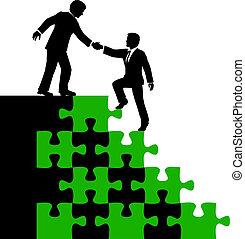 ludzie handlowe, towarzysz, odkrycie rozłączenie, pomoc