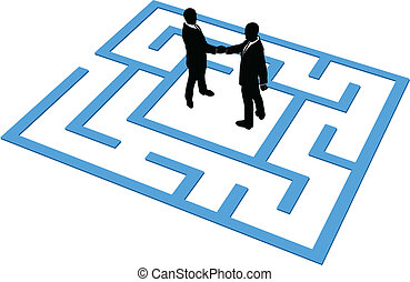 ludzie handlowe, znaleźć, połączenie, drużyna, zdezorientować