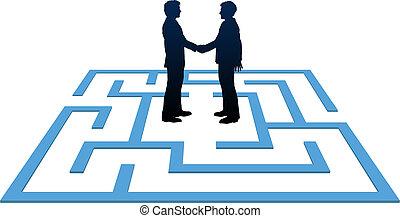 ludzie handlowe, znaleźć, zdezorientować, spotkanie, rozłączenie
