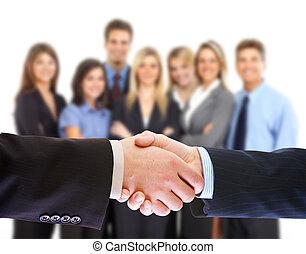 ludzie, handshake., handlowy, meeting.