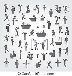 ludzie, higiena, komplet, czyn, ikony