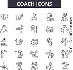 ludzie, illustration:, autobus, autobus, komplet, trening, trener, szkic, pojęcie, vector., kierownictwo, kreska, handlowy, znaki, ikony