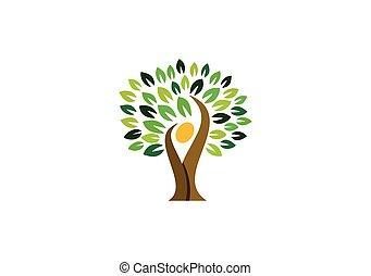 ludzie, kasownik, natura, wellness, logo, symbol, logo, projektować, zdrowie, drzewo, ikona, wektor