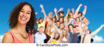 ludzie., kobieta, grupa, młody, szczęśliwy