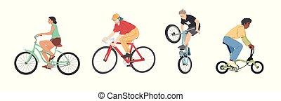 ludzie, komplet, mężczyźni, bicycles, rowery, różny, jeżdżenie, dzieci, typy, kobiety
