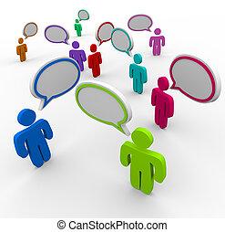 ludzie, komunikacja, -, dezorganizował, rozmawianie, raz