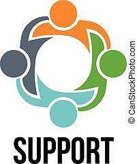 ludzie, logo, cztery, grupa, support.