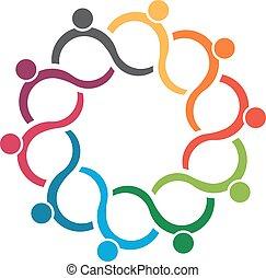 ludzie, logo., drużyna, grupa, 10, machać