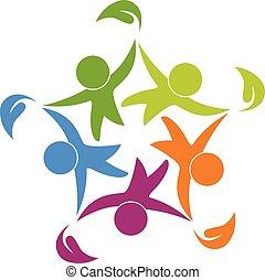 ludzie, logo, szczęśliwy, teamwork, zdrowy