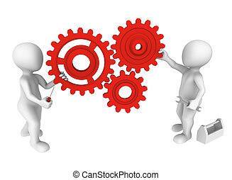 ludzie, mały, mechanizmy, narzędzia, 3d