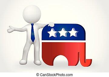 ludzie, mały, -, słoń, usa, 3d, symbol