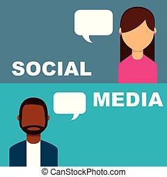 ludzie, media, bańka, mówiąc, mowa, towarzyski, chorągiew