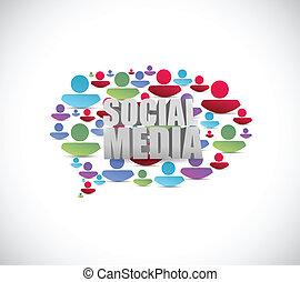 ludzie, media, bubble., ilustracja, mowa, towarzyski