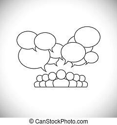 ludzie, media, -, wektor, projektować, towarzyski, komunikacja, kreska