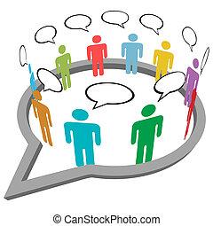ludzie, media, wnętrze, mowa, towarzyski, spotykać, rozmowa