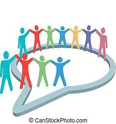 ludzie, media, wnętrze, siła robocza, mowa, towarzyski, utrzymywać, bańka