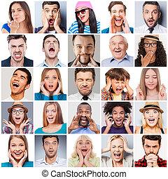 ludzie, mieszany, emotions., różny, skala, wiek, collage, wzruszenia, wyrażając, rozmaity, multi-ethnic