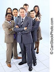 ludzie, multi, handlowy, mieszany ethnic, adults, zbiorowy, drużyna