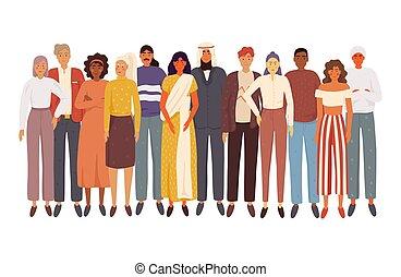 ludzie, multiethnic, razem, grupa, reputacja