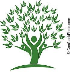 ludzie, natura, drzewo, zielony, logo, ikona