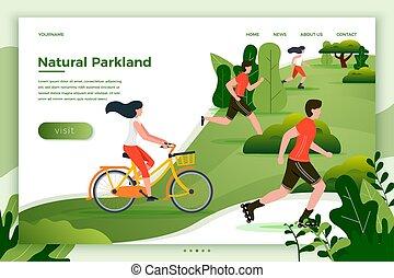 ludzie, park, ilustracja, wyścigi, wektor, jeżdżenie