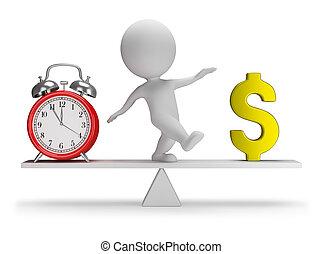 ludzie, pieniądze, -, czas, mały, 3d