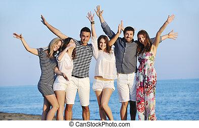 ludzie, plaża, grupa, szczęśliwy, zabawa, mieć, młody