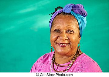 ludzie, portret, stary, czarnoskóry, aparat fotograficzny, prawdziwy, kobieta uśmiechnięta